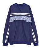 CHECKED FRILL SWITCHED JERSEY BLOUSON