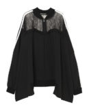 LACE SWITCHED JERSEY BLOUSON