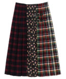 CHECK SWITCHED PLEATS SKIRT
