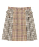 CHECK BELTED PLEATS SKIRT